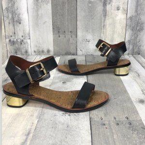 Sam Edelman Black Gold Trina Block Heel Sandal